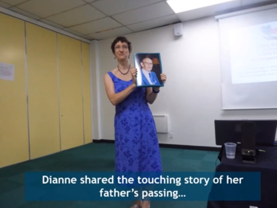 Dianne sharing the touching story of her father's passing...