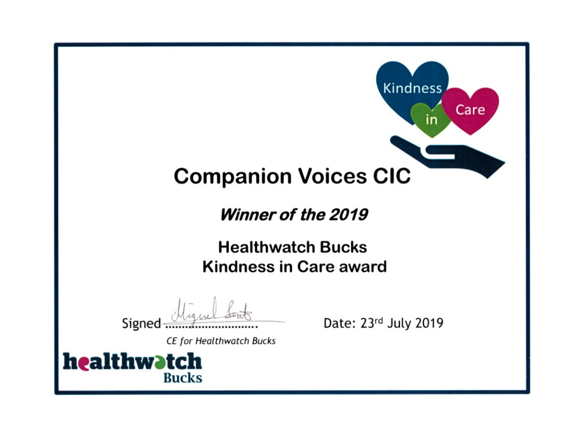 Companion Voices ~ Winner of the 2019 Kindness in Care Award